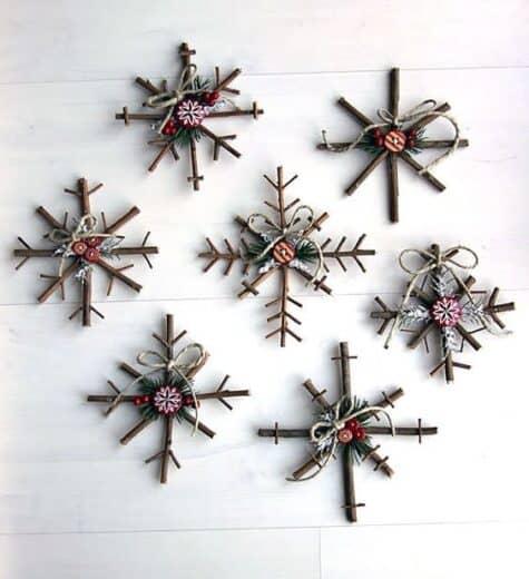 Branch Stick rustic Snowflake Christmas Ornament