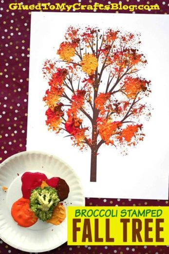 Fall Tree Painting Using Broccoli