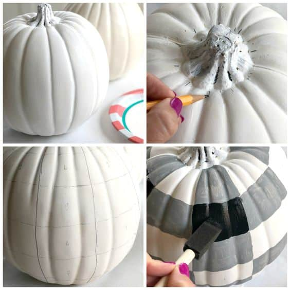 DIY Buffalo Check Pumpkin Fall Craft