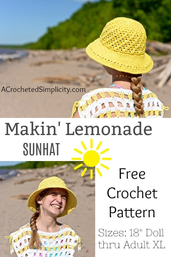 Easy DIY Lemonade Crochet Sun Hat with FREE video tutorial and pattern. Cute, trendy outfit ideas for Spring and Summer. Also makes a great gift IDEA. The best free crotchet patterns and tutorials.