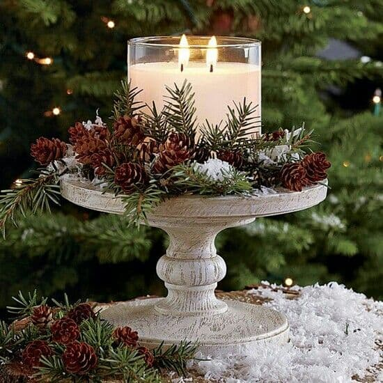 Easy DIY Christmas Cake Stand Candle Decoration