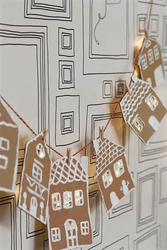 Cardboard Gingerbread House Garland