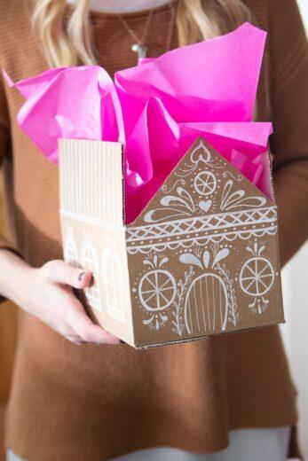 Cardboard Gingerbread House Gift Box
