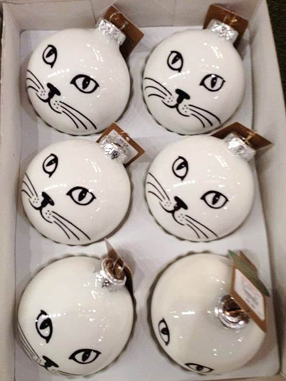 Easy DIY Cat Ornament you can make with a clear glass ornament, acrylic paint, and gel markers or a black sharpie. Great, simple, craft gift for kids, teachers, friends, and Christmas.