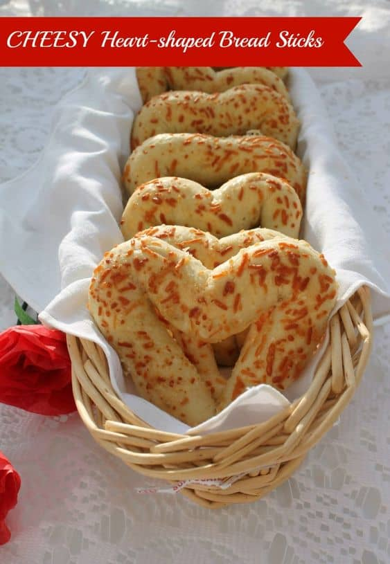 Easy DIY Cheesy Valentines Day Heart Shaped Bread sticks perfect Valentine's Day food for Dinner. DIY boyfriend gifts
