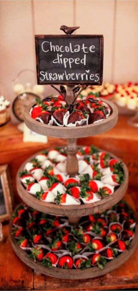 Chocolate covered strawberries 3 tiered display Graduation Party Food