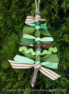 DIY Stick ribbon Christmas Tree Ornament idea