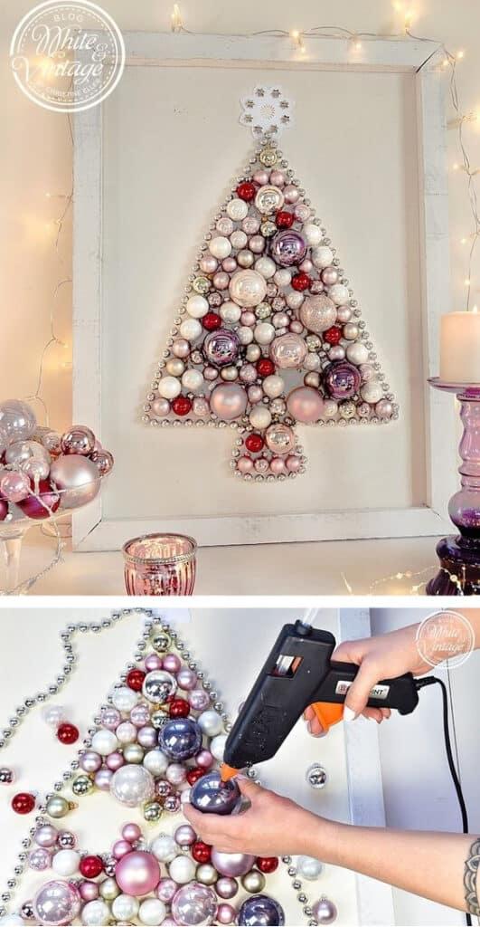 DIY Wall Christmas Decor Wreath using ornaments