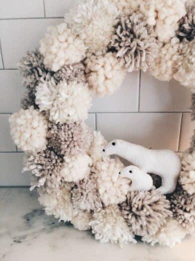 Easy DIY Dollar Store Pom Pom Wreath