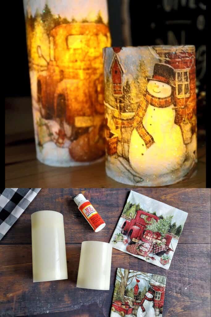 DIY Christmas Napkin Decopage Candle