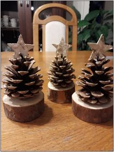 DIY Pinecone Christmas trees with wood branch base