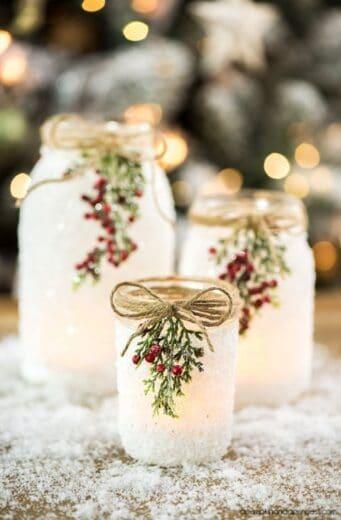 DIY Snowy Mason Jar Christmas Decoration