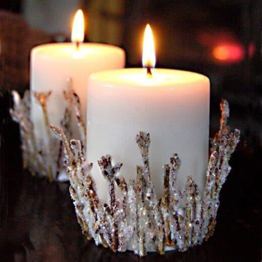 DIY Glittery twig candle holders