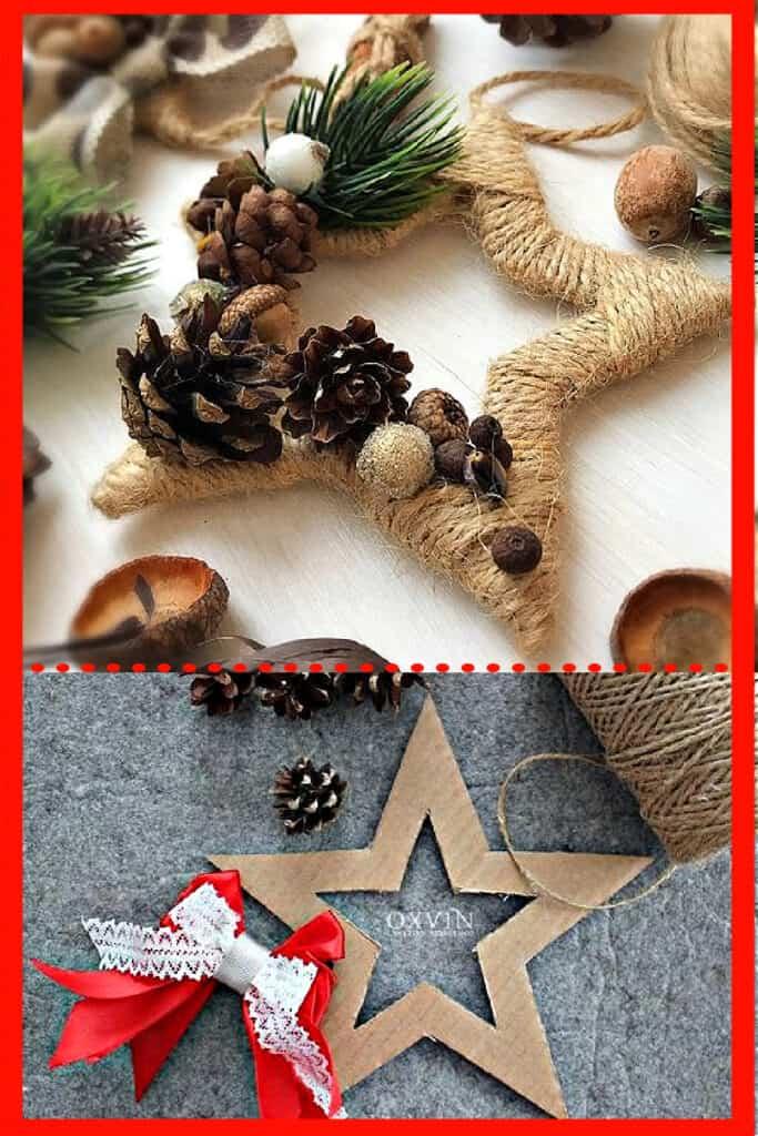 DIY Farmhouse twine string Start Ornaments