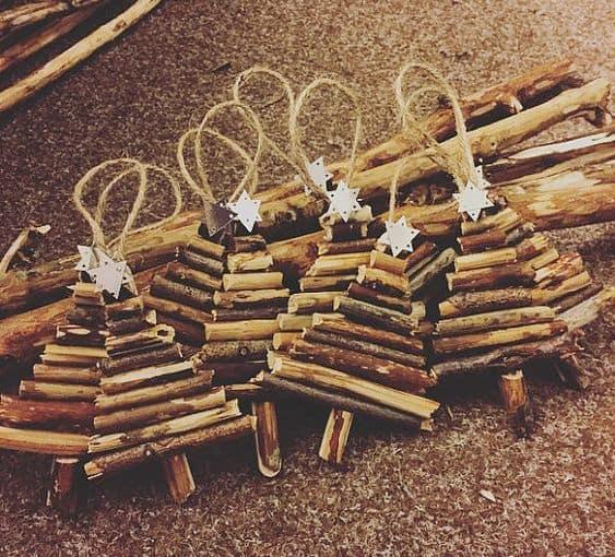 DIY Twig stick Christmas Tree Ornament