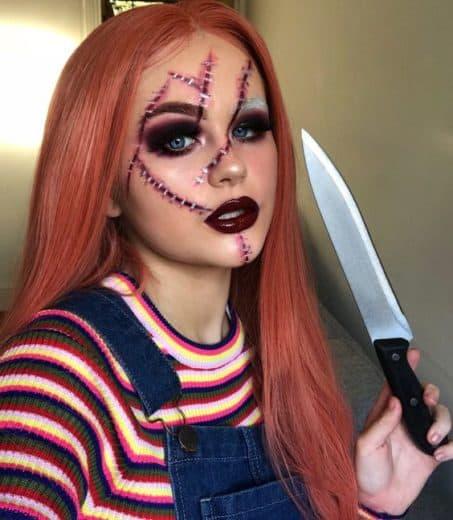Easy Last Minute DIY Halloween Make Up, pretty, scary Chucky costume idea.