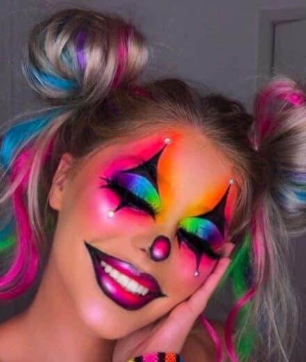 Colorful rainbow Joker Make up costume