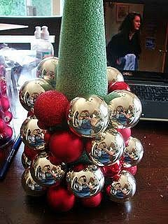 Easy DIY Christmas Ornament Tree Alternative. Perfect for the mantle, table, or as a tree alternative. Easy and elegant Budget decor idea for the home. All items are at the dollar store.