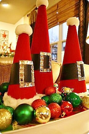 Easy DIY Cone Santa rinestone Christmas Decoration idea. Perfect for the mantle or on the table. Elegant, budget decor idea for the home.