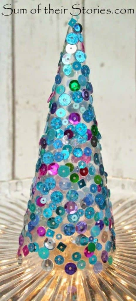 Easy DIY Christmas Sequin Cone Tree. Perfect for the mantle, or table, or even bathroom. Easy, elegant Christmas Decor idea for the home on a budget.