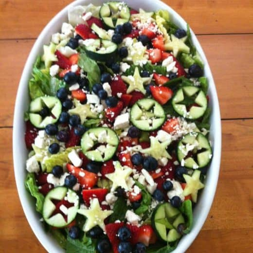 Patriotic salad. Easy DIY 4th of July party ideas for food and decorations.