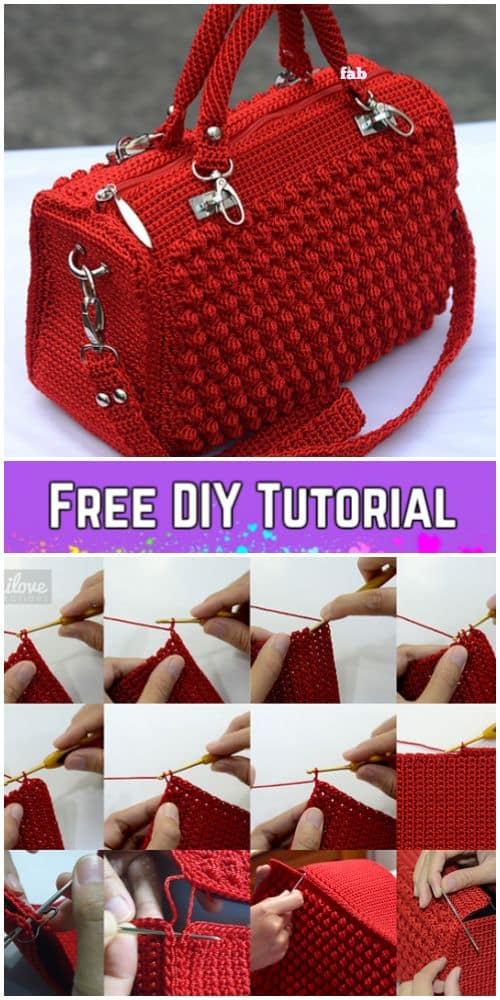 DIY Bobble Stitch Crochet Handbag with FREE video tutorial. Makes a fashionable, cute and trendy outfit for Spring or Summer, also a great gift idea. nd how to tutorial. The best free crotchet patterns and tutorials.