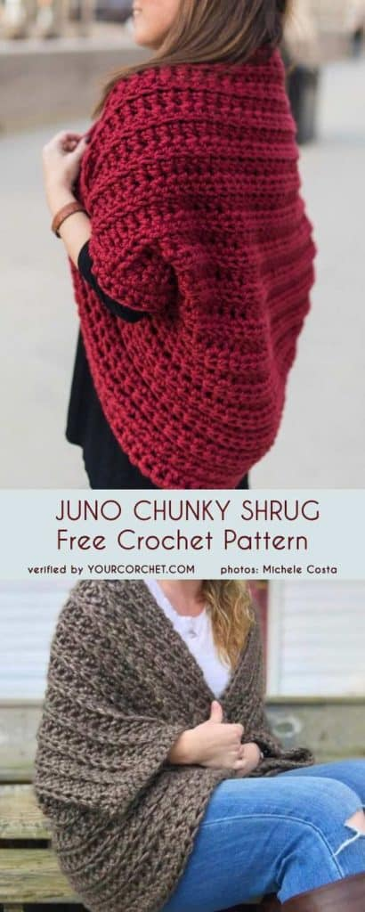 DIY Crochet Juno Chunky Shrug Sweater with free tutorial and pattern. Trendy outfit for Spring or Summer and even Fall. Also a great gift idea. The best free crotchet patterns and tutorials.