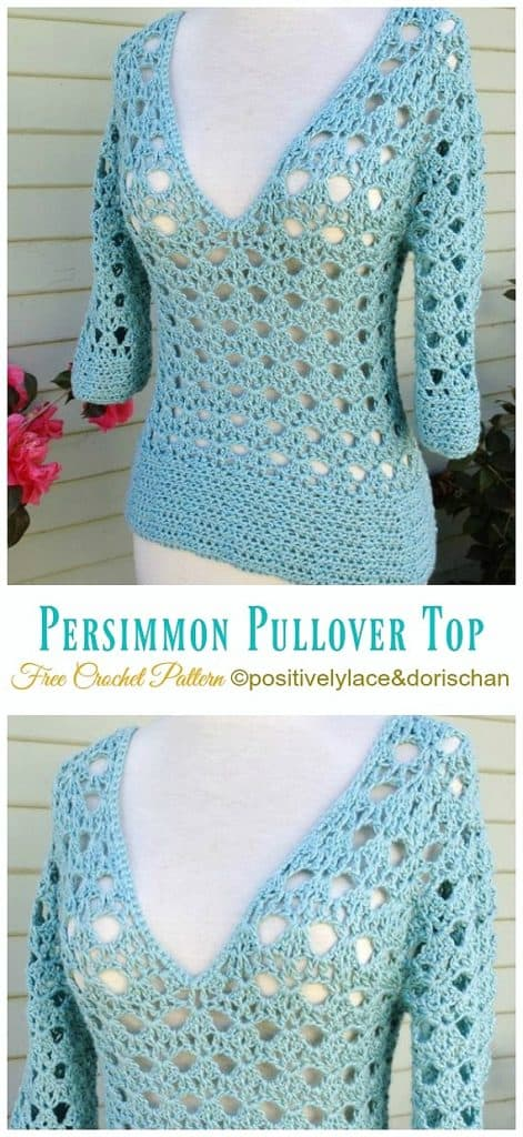 DIY Crochet Persimmon Pullover sweater with free tutorial and pattern. Fashionable, trendy outfit for Spring or Summer. Also a great gift idea. The best free crotchet patterns and tutorials.