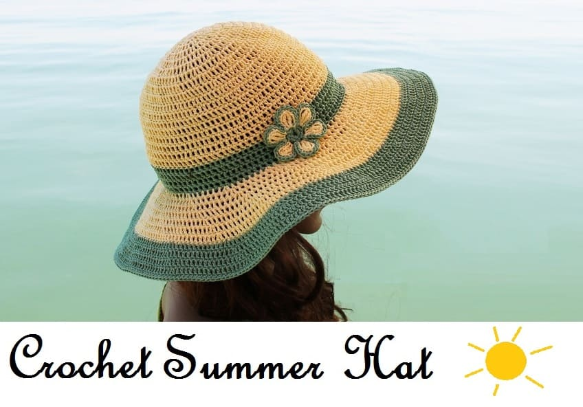 Easy DIY Crochet Sun hat with FREE video tutorial and pattern. Cute, trendy outfit ideas. Also makes a great gift. nd how to tutorial. The best free crotchet patterns and tutorials.