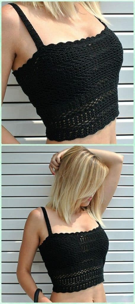 DIY Crochet Crop Top in Black, includes free pattern. The hottest Trend for Spring and Summer 2019. Cute outfit ideas. Also a great gift idea. The best free crotchet patterns and tutorials.