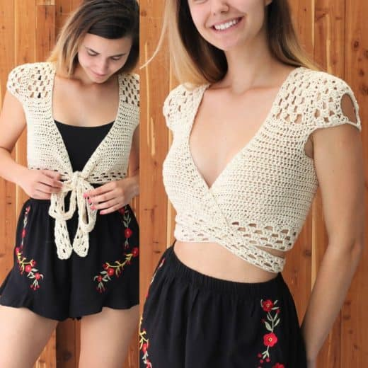 Short Sleeve Crochet wrap crop top pattern will make any outfit look trendy. Cute outfit ideas for Spring and Summer 2019. Also a great gift idea. The best free crotchet patterns and tutorials.