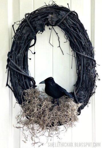 DIY Crow Wreath Outdoor decor