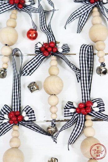 Easy DIY Farmhouse Christmas Tree Ornaments from the dollar store