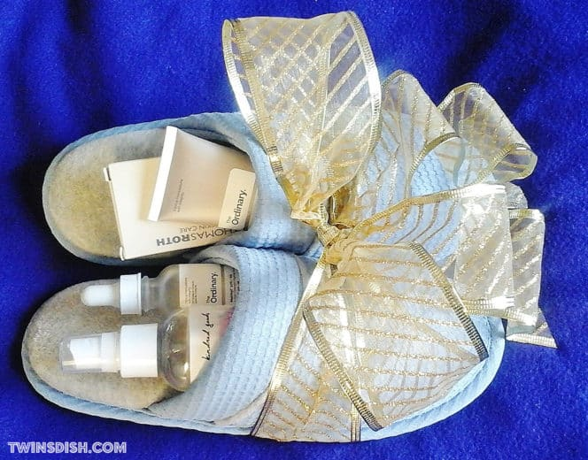 Fill slippers with beauty products and add a bow for an easy Mother's day gift idea