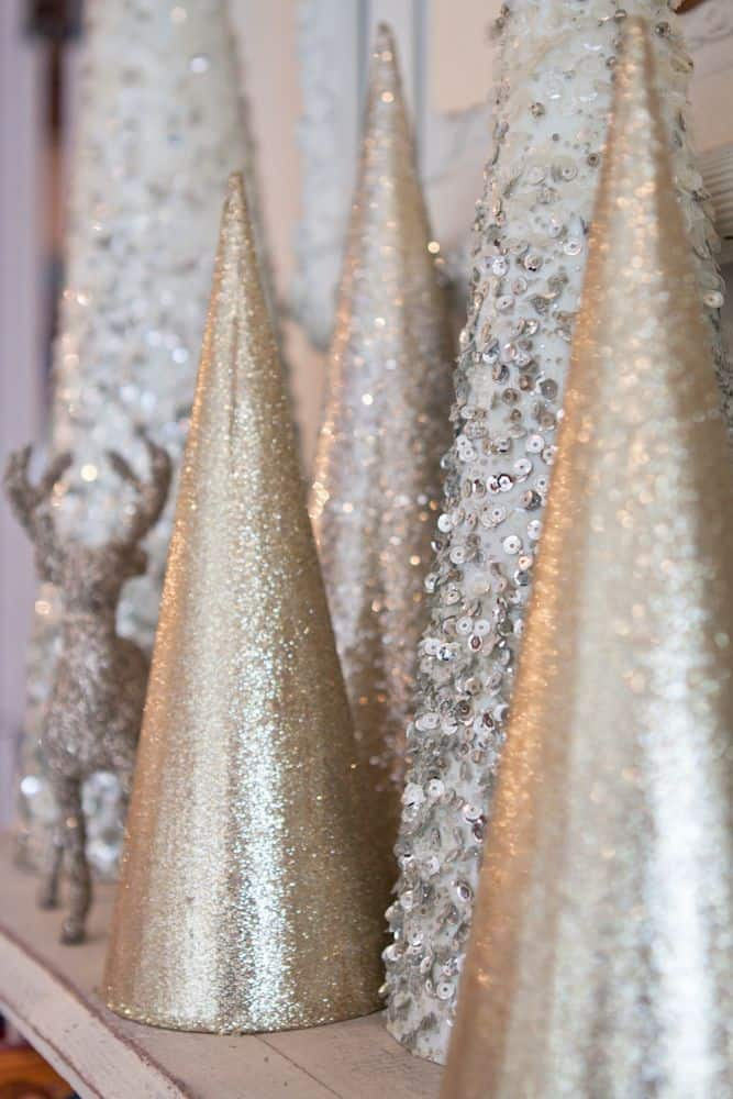 Easy DIY Glitter Christmas Cone Tree Decoration Crafts