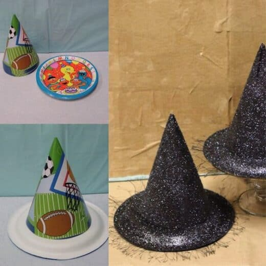 Glitter witches hat made with paper hats and plates