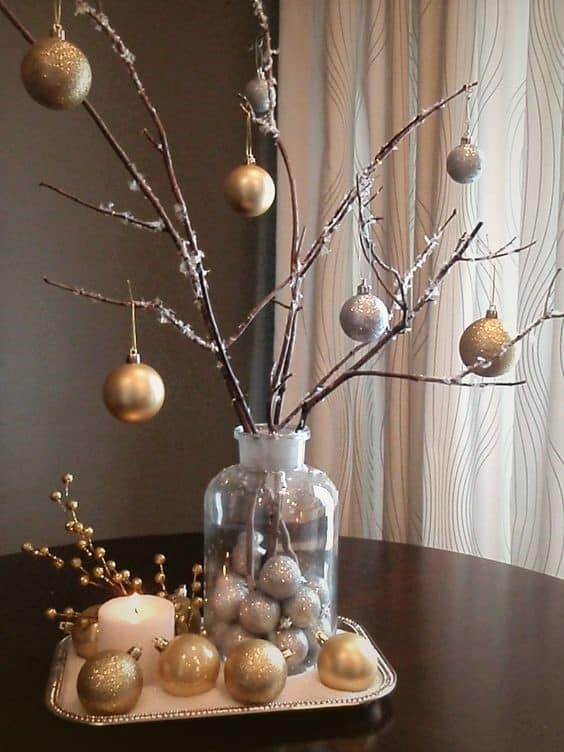How to make: Easy DIY Christmas Decorations using fallen branches and ornaments. Perfect Christmas or winter decoration, craft, or wedding centerpiece. Great Budget decor ideas for the home. #Christmas #Wedding #MantleDecorIdea #SilverandGold