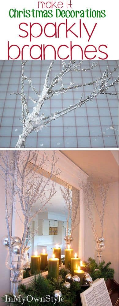 How to make: Easy DIY glitter branches Christmas Decorations using fallen branches. Perfect Christmas or winter decoration, craft, or wedding centerpiece. Great Budget decor ideas for the home. #Christmas #Wedding #MantleDecorIdea