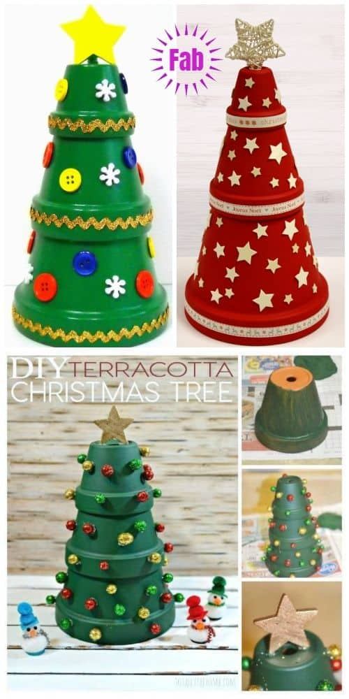 How to make: Easy DIY Christmas Decorations using Claypots. Perfect Christmas or winter decoration, DIY gift, craft, or wedding centerpiece. Great Budget decor ideas for the home. #Christmas #ChristmasTreeIdeas #Christmastreealternative
