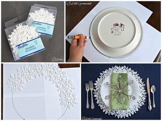 Easy DIY glitter Snowflake charger plate table setting. Simple yet beautiful dollar store Christmas craft idea anyone can make, even kids for a party, wedding, or gift.