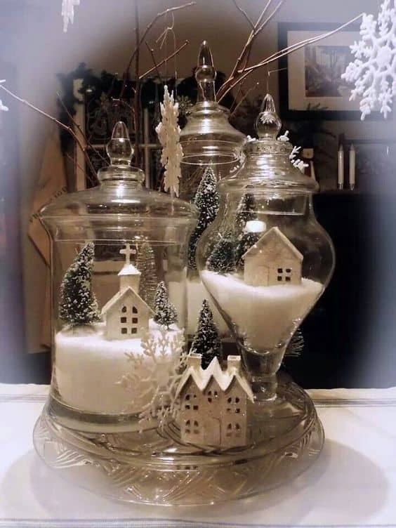 Easy DIY Christmas canister. Elegant Christmas Decoration idea for the mantle, table, wedding, party. Great budget decor.