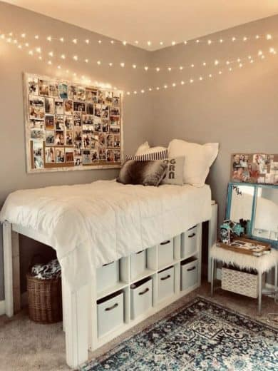 Raised lofted bed, fairy lights, organization, and photo decor ideas. What not to do to your dorm. Dorm room ideas for college. #College #dorm #decorations #cozy