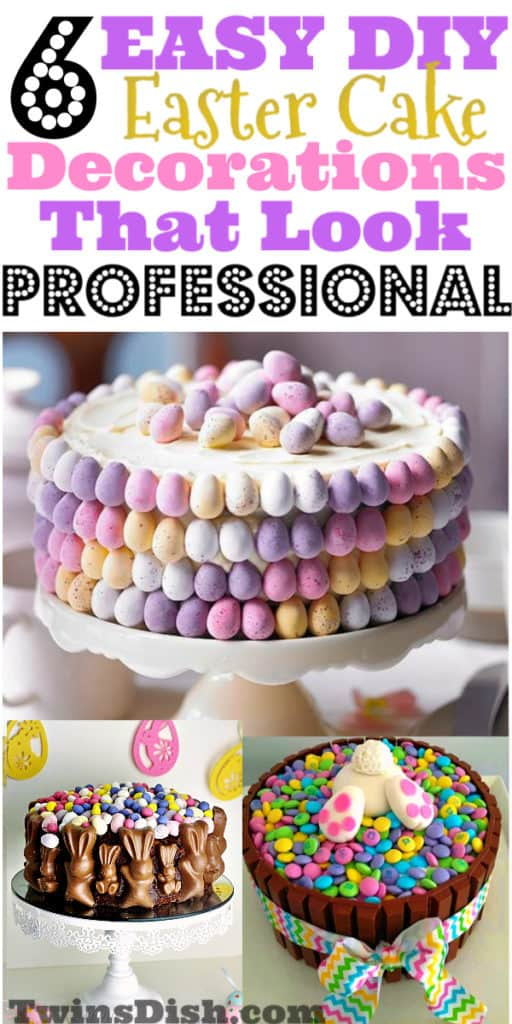 Super easy DIY Easter Cake decorations that look professional, using Easter candy.