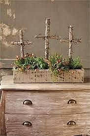 Easy DIY rustic farmhouse cross centerpiece for the Easter table.