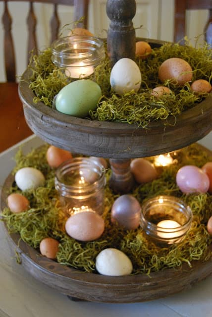 Easy DIY tiered Easter egg display idea for the table. The Best Easy DIY Easter Decoration Ideas.