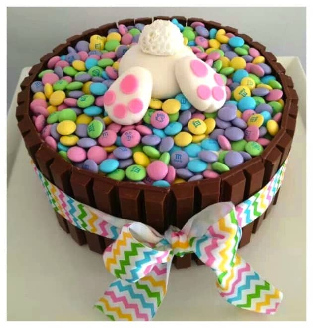 Easy DIY Easter Candy cake that looks professional. Easter desserts ideas.