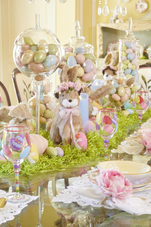 Easy DIY Easter eggs in apothecary jars table setting decoration.
