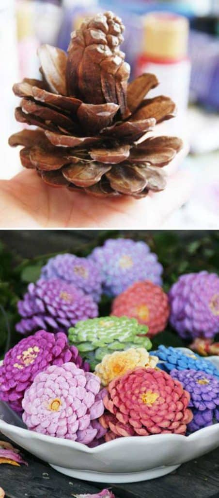 Easy DIY Easter Pinecones craft idea for kids. The Best Easy DIY Easter Decoration Ideas.