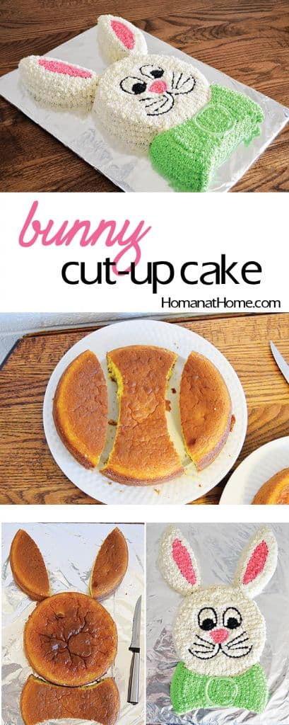 Easy Easter Bunny Cut Up Cake for kids using Peeps. Simple Easter cake decorating ideas and dessert recipes.