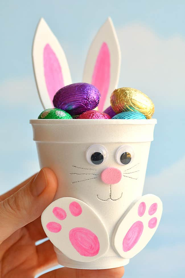 Easy DIY Foam Cup Bunny Easter craft idea for kids to make. The Best Easy DIY Easter Decoration Ideas.